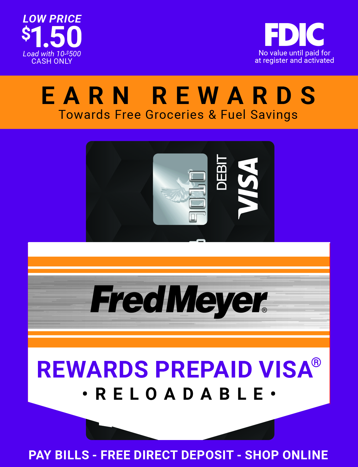 Temporary Visa Card | Fred Meyer Prepaid Debit Card